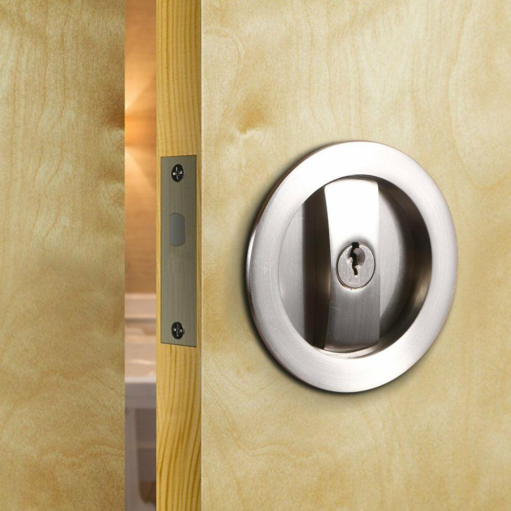Invisible Sliding Barn Wood Door Gate Cup Handle Lock Hardwa