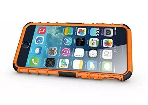 iPhone 6 and Case - Dual 2 1 Rugged Hard/Soft Protective Cover Shipped the U.S.A. - Orange