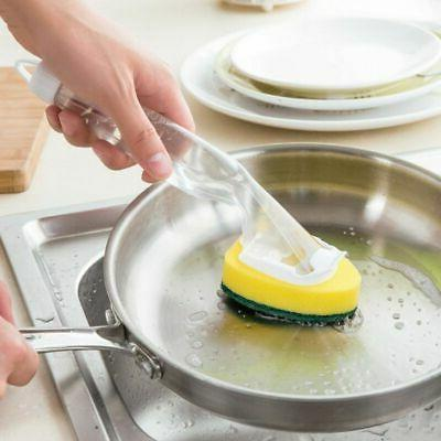 Dish Washing Sponge Brush Scrubber with Detachable Cleaner A