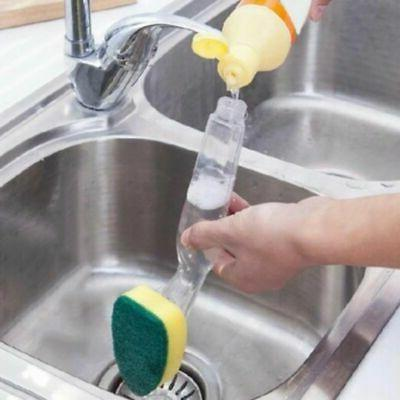 Kitchen Dish Washing Brush Sponge with Liquid Cleaner Dispen