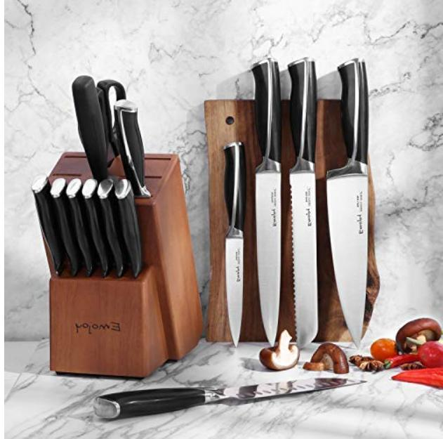 Knife 15-Piece Knife with Block, ABS Handle Knife Set,
