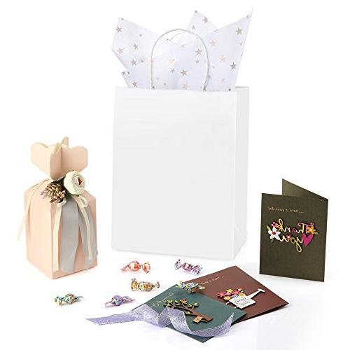 "BagDream 8x4.75x10.5"", Paper Gift Bags, Retail White Paper Bags Bulk with Handles"