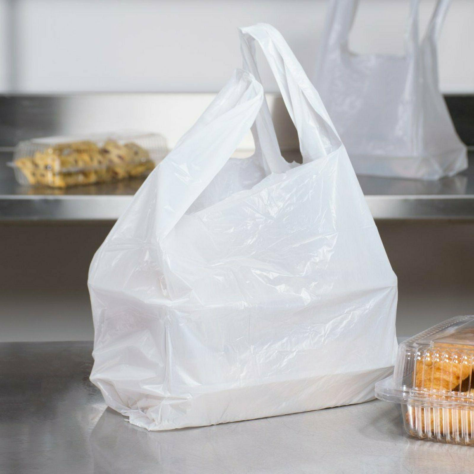 Large Plastic Grocery T-shirts Carry-out Plain 12 6 21