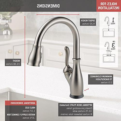 Delta Leland Touch Kitchen Sink with Pull Sprayer, Touch2O and Magnetic Docking Spray SpotShield Stainless 9178T-SP-DST