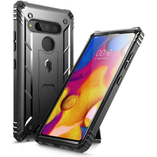For LG V40 ThinQ CasePoeticShockproofCoverwithScreenProtector Black