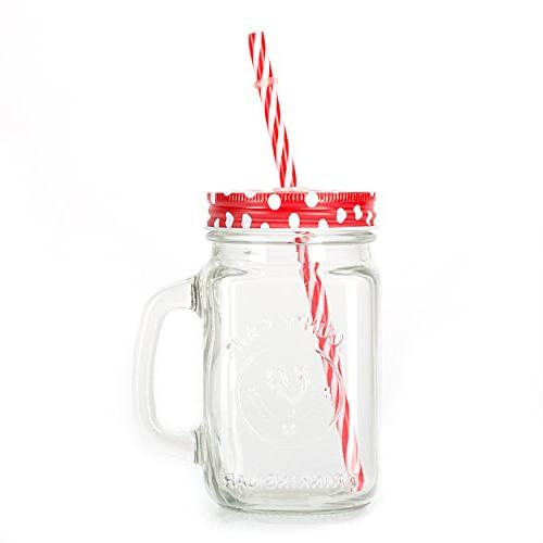 Mason Jar Handle, multi COLORED and Plastic 16 Oz. Each. Drinking of by Premium Vials