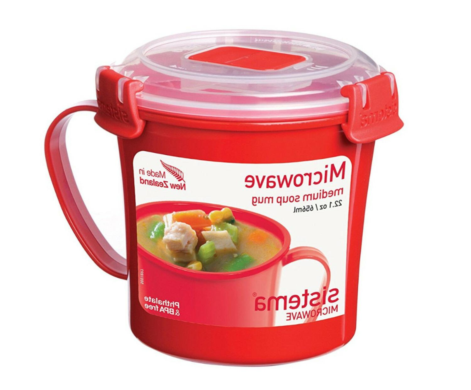 Medium Soup Handle and Vent Microwavable Cup