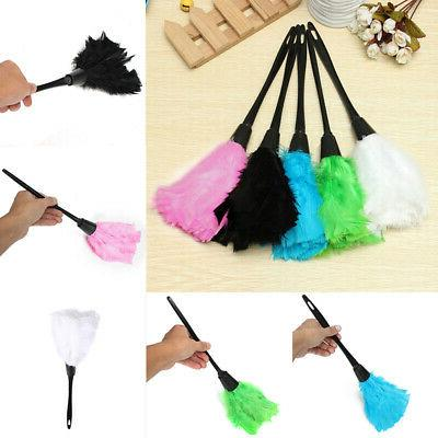 Multi-color Turkey Feather Duster with Black Plastic Cleaning