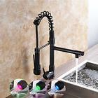 LED Oil Rubbed Bronze Spring Kitchen Faucet Pull Out Sprayer