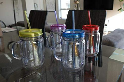 Zephyr Goods Jars Handles, Lids and oz Double Tumblers | Set | Unbreakable Wide Mouth Mugs | Cups for Kids Free Safe