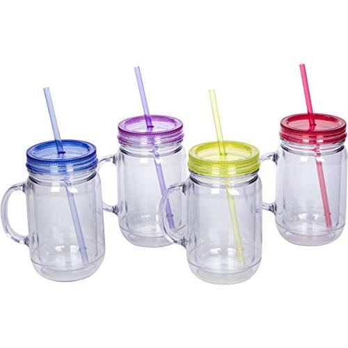 Zephyr Goods Plastic Jars with Handles, Lids and 20 oz Double Insulated | | Unbreakable Wide Mouth for Kids | BPA Free Dishwasher