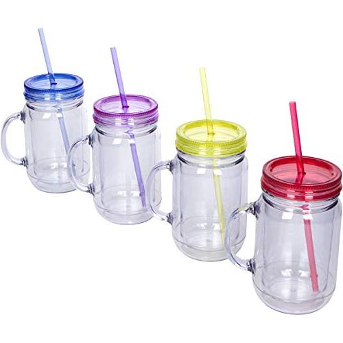 Zephyr Goods Jars with Handles, and Straws | | Set | Mugs Cups for Kids | BPA Free