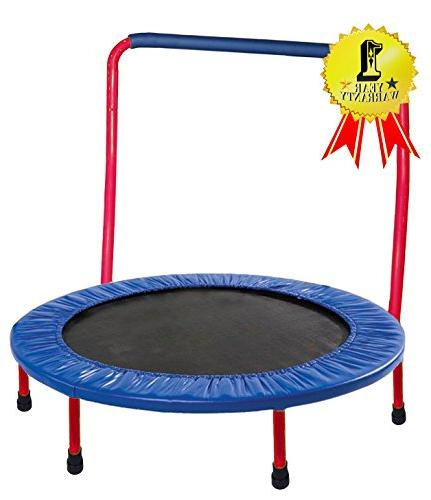 GYMENIST KIDS TRAMPOLINE Portable & Foldable - 36 Inch. Durable with Frame and Handle Bar - Red