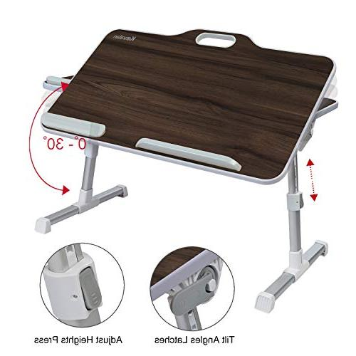 Kavalan Portable Laptop with Handle, & Angle Adjustable Sit and Stand Desk, Breakfast Table Notebook Stand Sofa Couch Teak