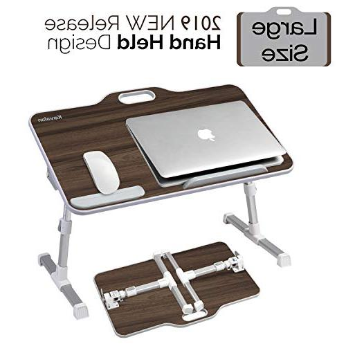 Kavalan with Angle Adjustable Sit Stand & Breakfast Table Tray, Notebook Sofa Couch Teak