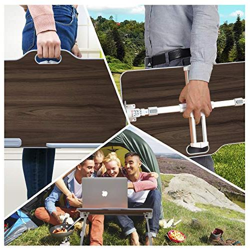 Kavalan Portable Table with Angle Adjustable Stand Desk, Breakfast Table Tray, Foldable Notebook Stand Holder Sofa Teak