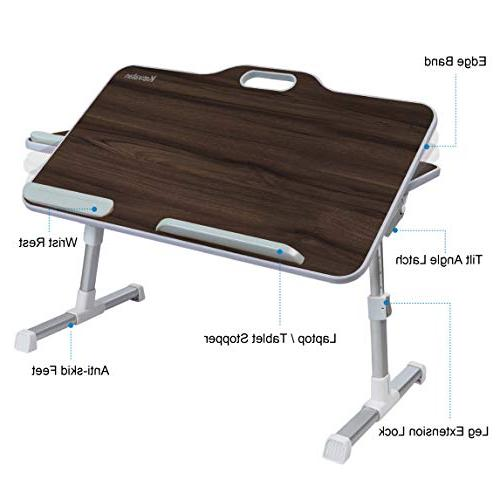 with Handle, Angle Adjustable Stand Desk, Breakfast Table Notebook Stand for Sofa Black Teak