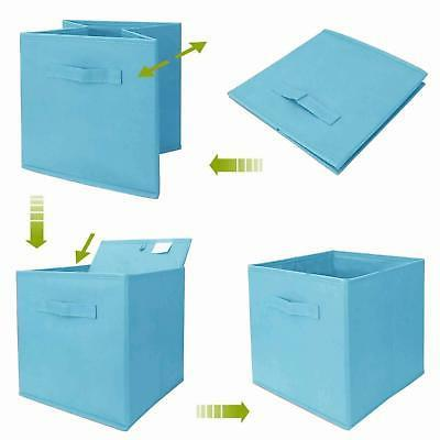 Practical Foldable Cube Storage Bins with Handle, 2-Pack Fabric Blue