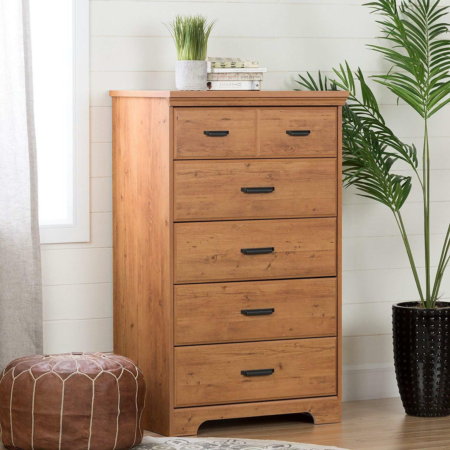South Shore 5-Drawer Dresser, Pine with Handles