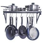 Space Saving Kitchen Wall Pot Pan Rack, With 10 Hooks
