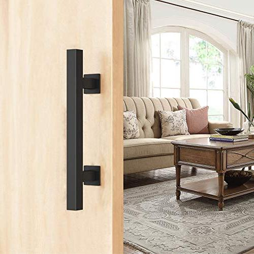 FaithLand Door Handle, Pull Flush Handle in Black Pairs Screws Included