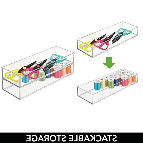 "mDesign Stackable Organizer Storage Bin Tray - Hobby, Art Supplies in Home, Classroom, or Studio - Durable Shatter-Resistant - 12"" Pack"