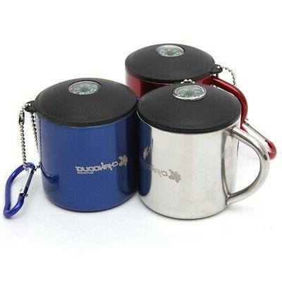 stainless outdoor mug with handle and lid
