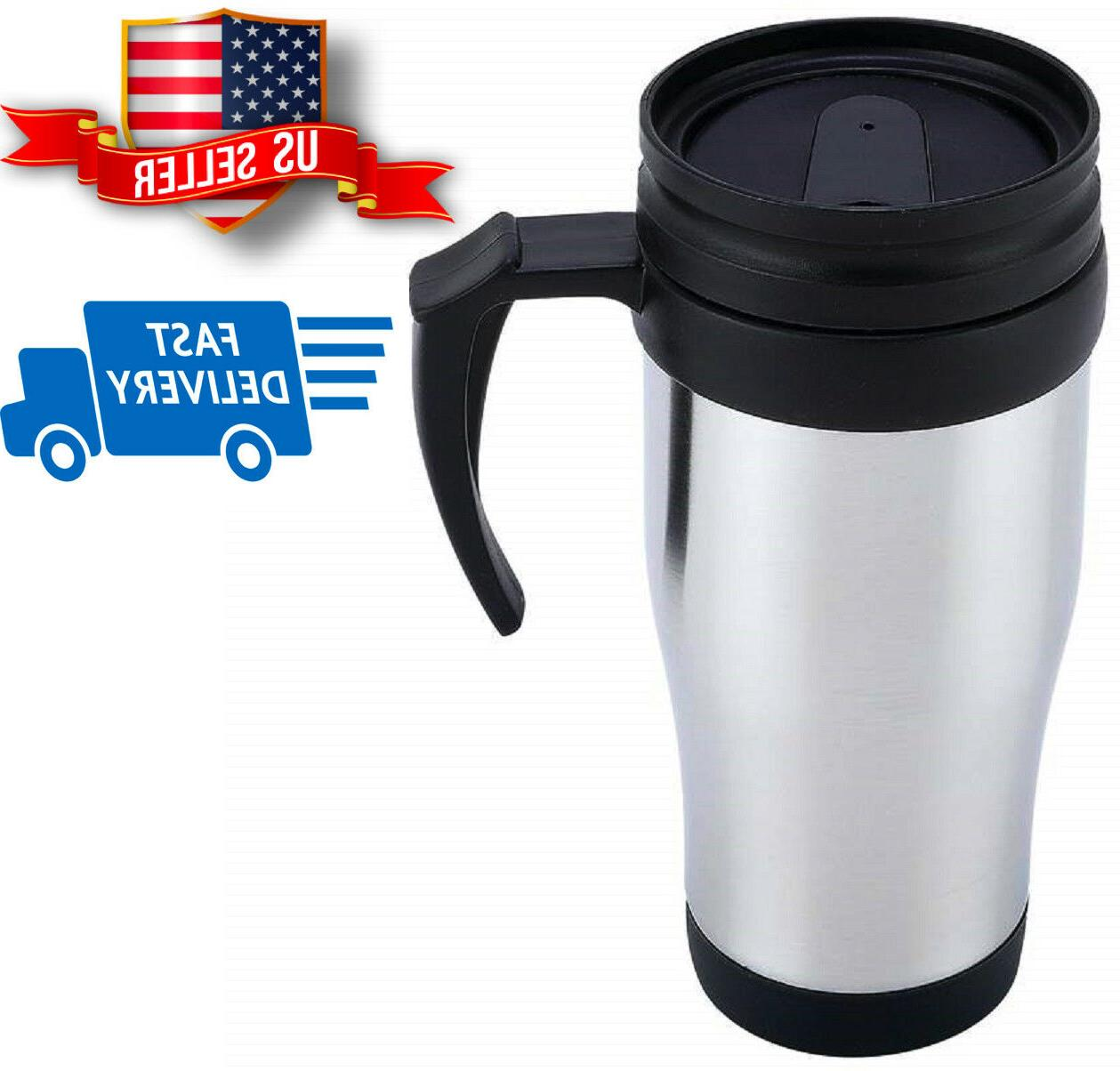 stainless steel lined travel mug with handle