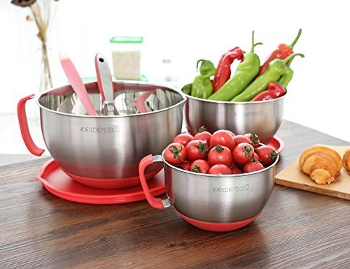 Rorence Stainless Steel Mixing Spout, Nesting Set of 3, Red