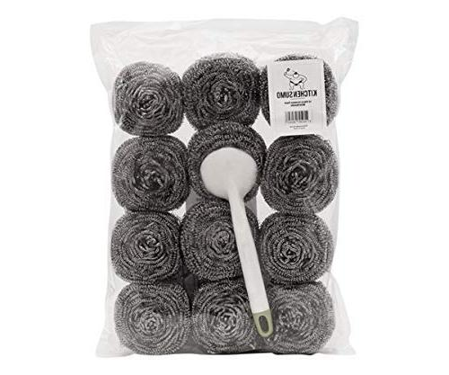 Kitchen Sumo Stainless Steel Sponges Handle Pack of 12 Large Steel Scrubbers - Scouring - Kitchen Cleaning