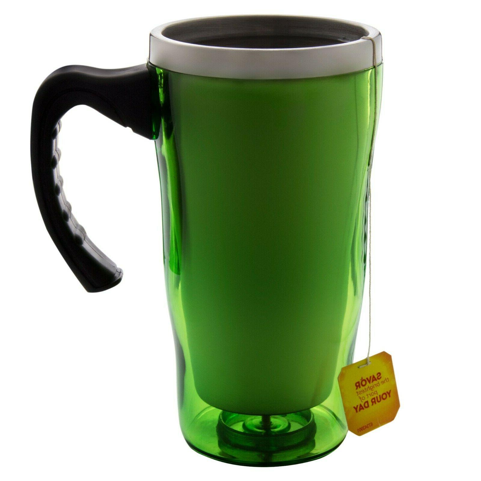 stainless steel travel coffee mug with handle