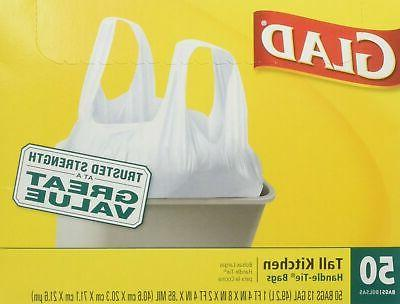Glad 13 Gal. Tall Kitchen Handle-Tie Bags 50 ct
