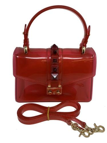 transparent candy color handbag with studded buckle