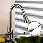 """USA 16"""" Kitchen Sink Faucet Brushed Nickel Pull-Out Spray Sw"""