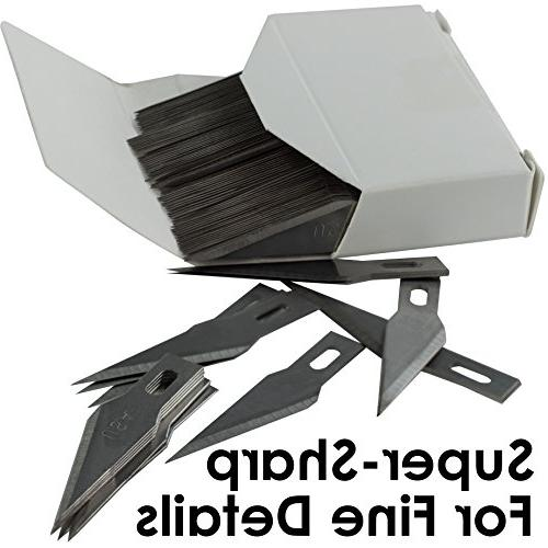 Premium Steel Knife Blades Mega 100 Pack. and Shipping Costs! Fine Point #11 Craft Knife for Modeling and