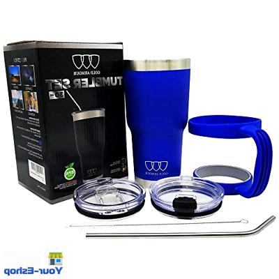 Vacuum Insulated Tumbler Handle Straw Stainless Steel Cup