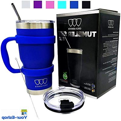 vacuum insulated tumbler with handle straw travel