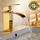 Waterfall Bathroom Sink Faucet Gold Plated Stainless Steel S