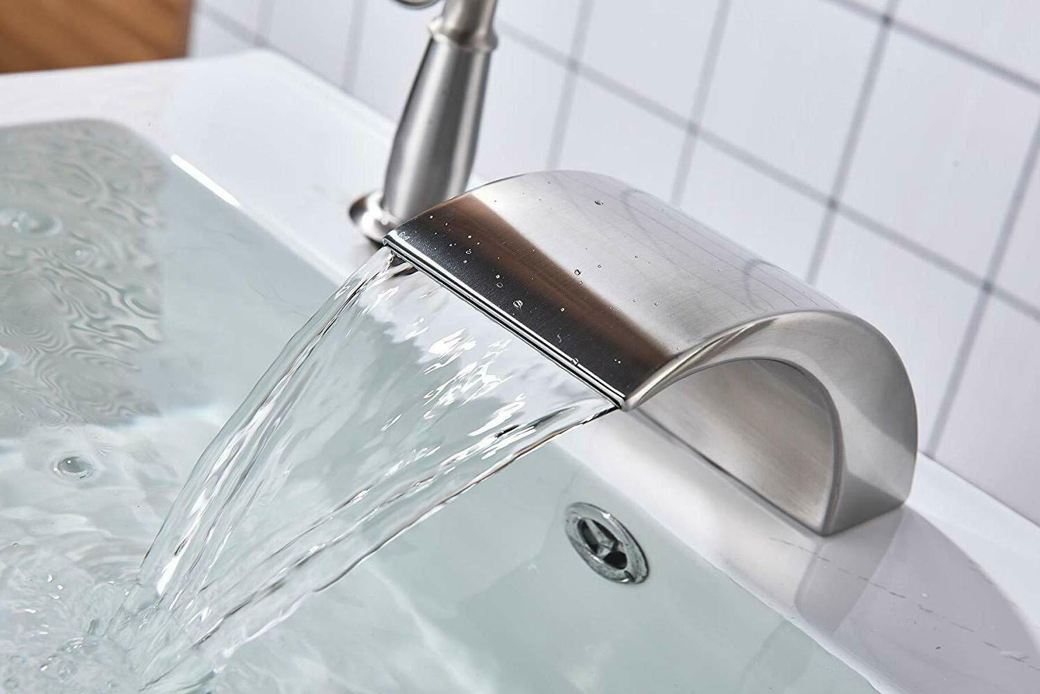 Waterfall Filler With Hand Sprayer Mixer Brushed Nickel