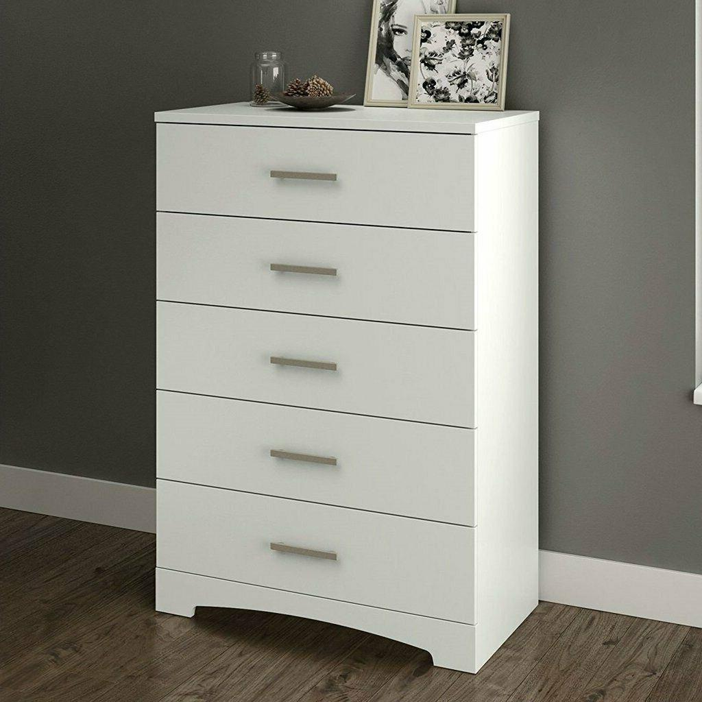 white 5 drawer bedroom chest with brushed