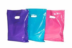 Large Glossy Purple, Pink & Teal Plastic Bags with Handles 1