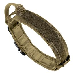 Medium Tan Dog Collar with Handle Heavy Duty 600D Nylon Tact