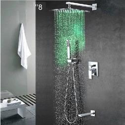 "LED 8"" Rain Shower Faucet Set Wall Mount Tub Mixer Tap Hand"