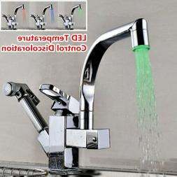 LED Color Swivel Kitchen Sink Faucet Pull Out Sprayer Deck M