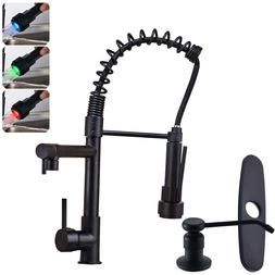LED Spring Kitchen Sink Faucet Pull Down Sprayer Single Hand