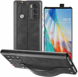 For LG Wing 5G Leather Bumper Case Cover with Handle PU Leat