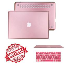 Rose Gold Rubberized Case with Keyboard Cover Compatible Mac