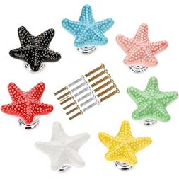 Corasays Mixed Colors Starfish Shape Drawer Cupboard Pulls H