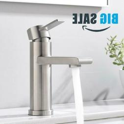 Modern Commercial Brushed Nickel Single Handle Bathroom Fauc