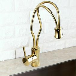 Modern One Handle High Arc Curvaceous Lines Swivel Spout Kit
